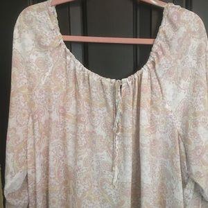 3X Wallpapher sheer paisley boho tops/long sleeves